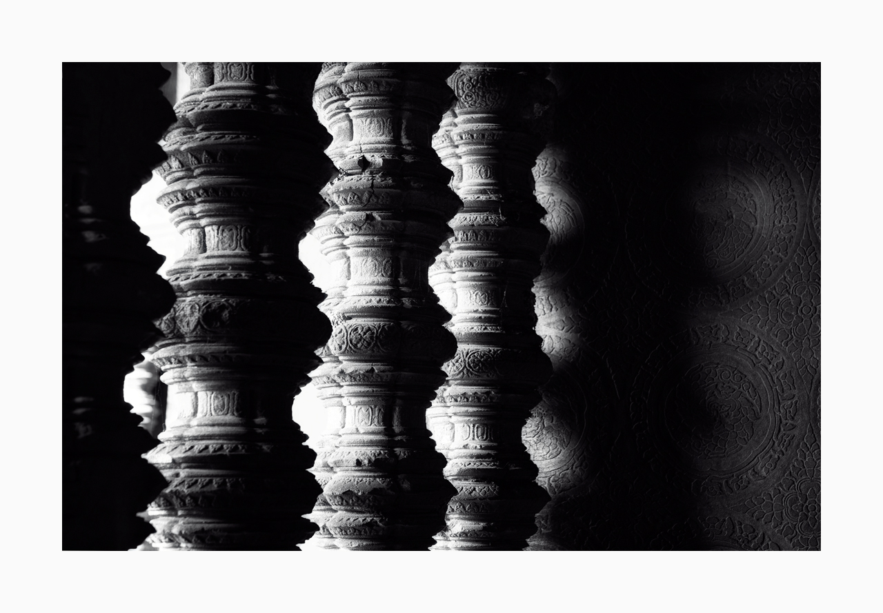 Fine art black and white image of Window Balusters and Wall Carvings, Angkor Wat, Siem Reap