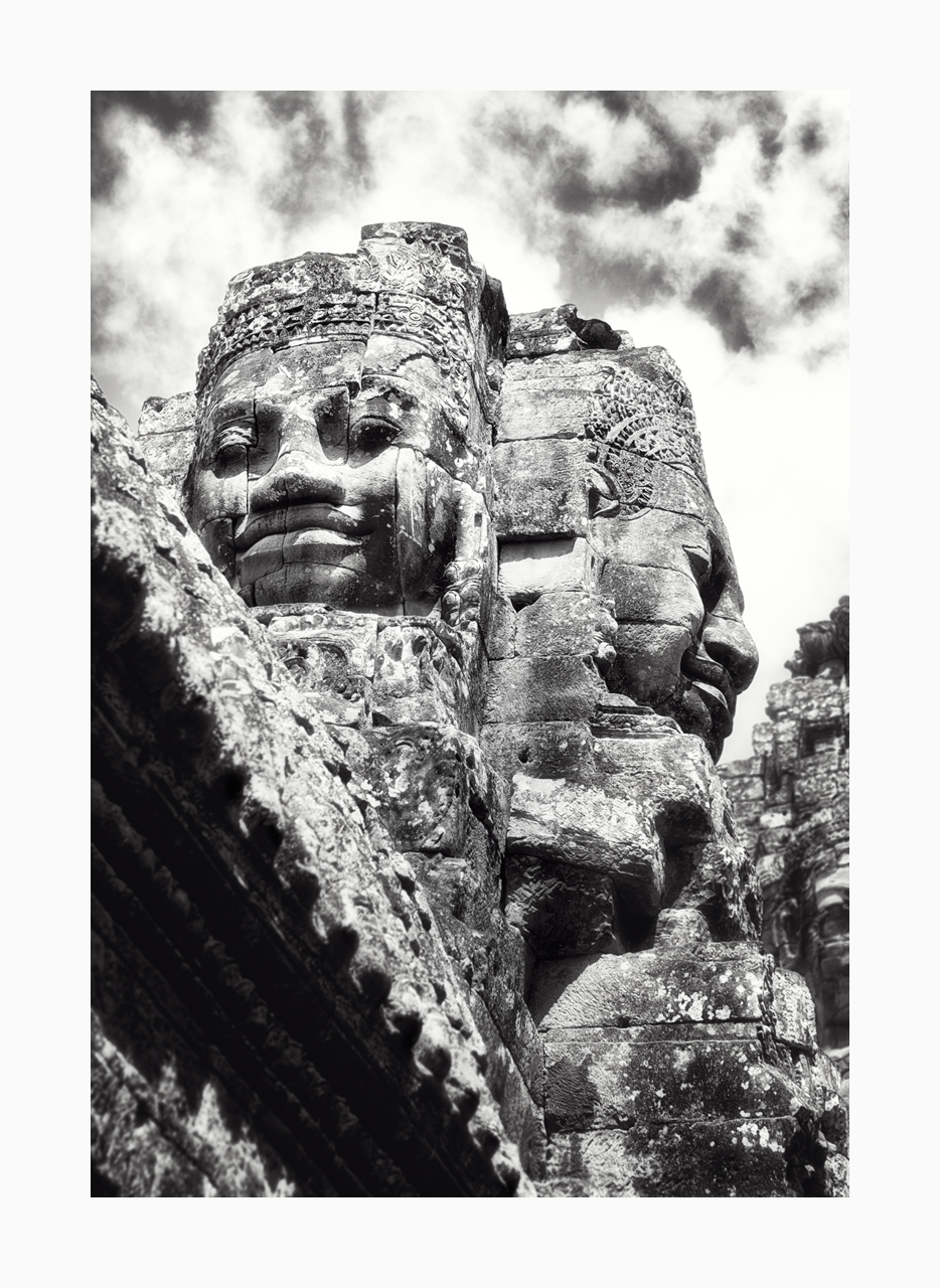 Fine art black and white image of the Bayon's monumental faces, Siem Reap