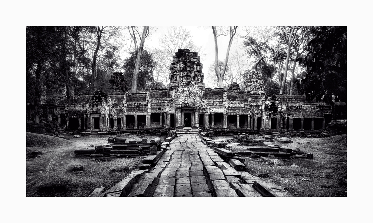 Fine art black and white image of Entrance to Central Sanctuary of Ta Prohm, 1993, Siem Reap