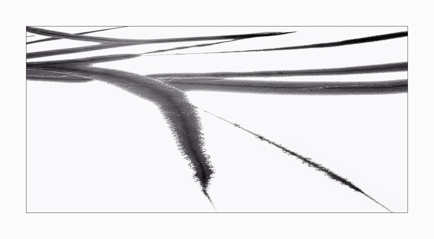 Fine art image of calligraphy-like strokes on a frozen Lake Myvatn in Iceland.