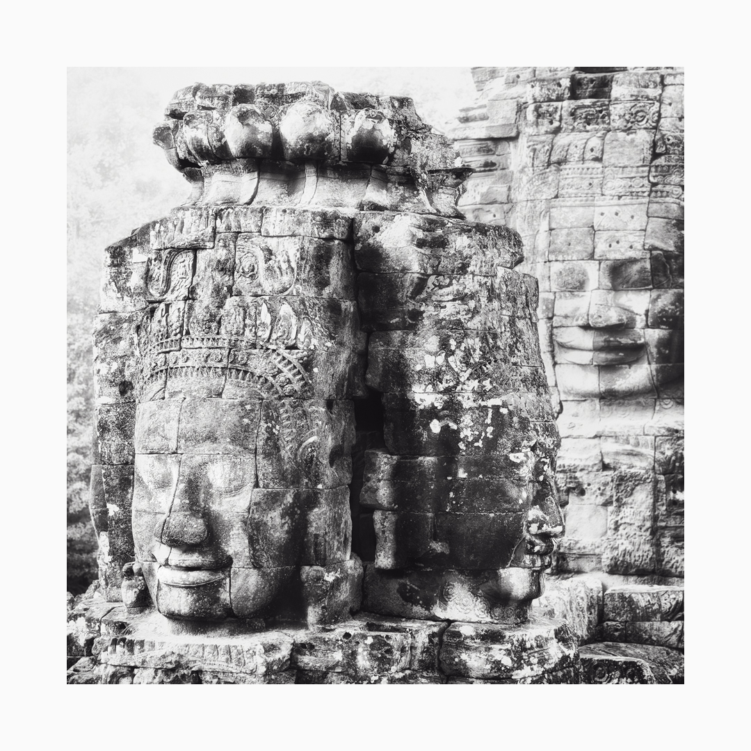 Fine art black and white image of Three Faces at The Bayon, Siem Reap