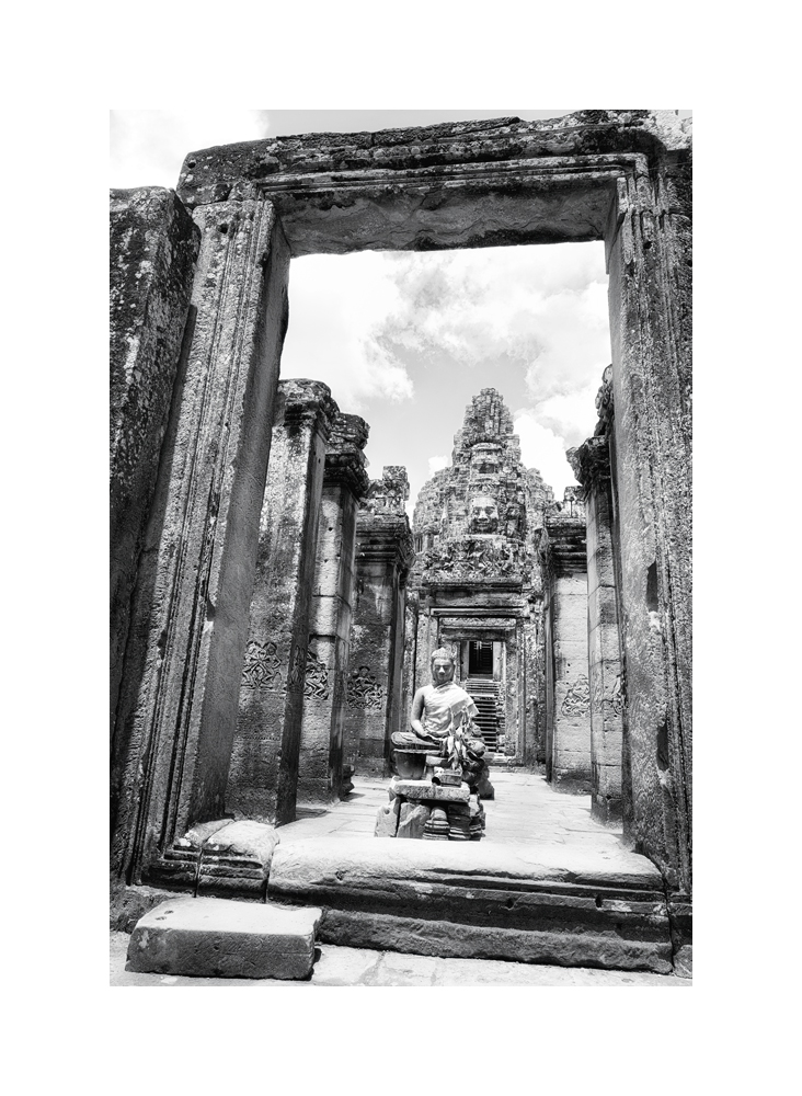 Fine art image of the Bayon Gopura's square structure framing a sitting Buddha, Bayon, Siem Reap