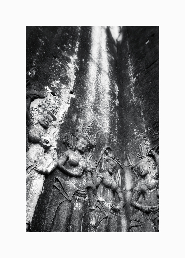 Fine art black and white image of four apsaras, Angkor Wat, Siem Reap