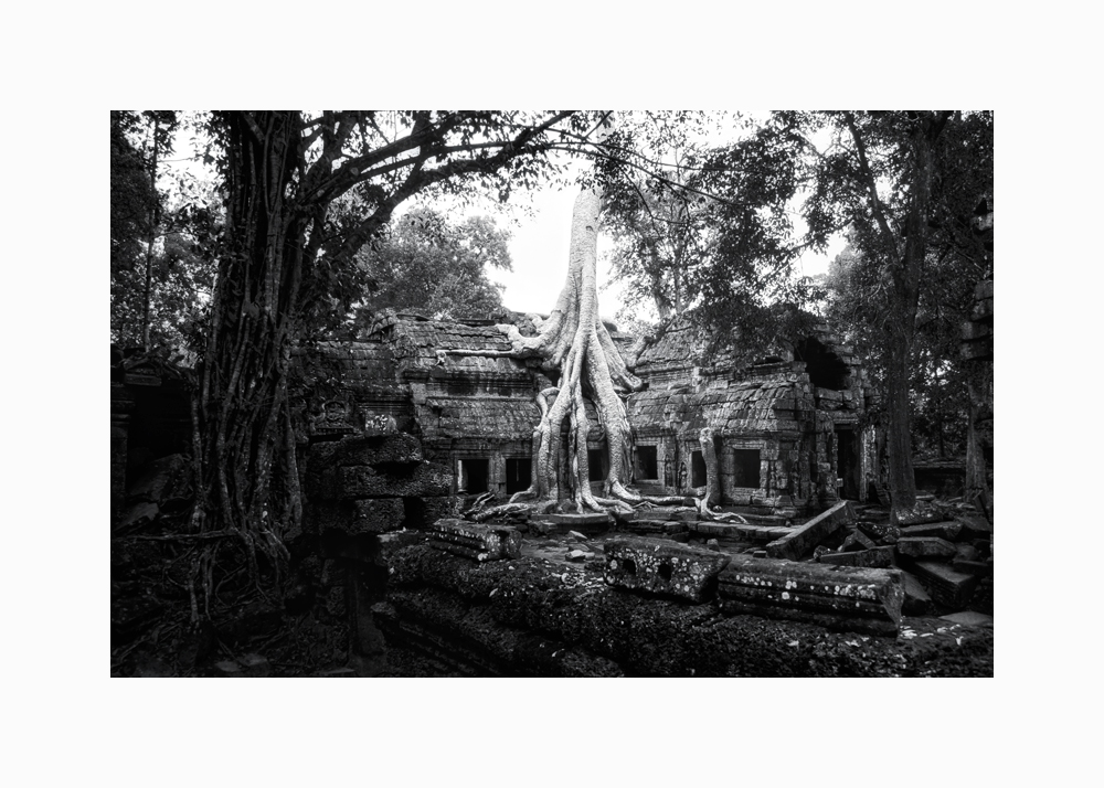 Fine art black and white image of Easternmost Gopura of Ta Prohm I, 1993, Siem Reap