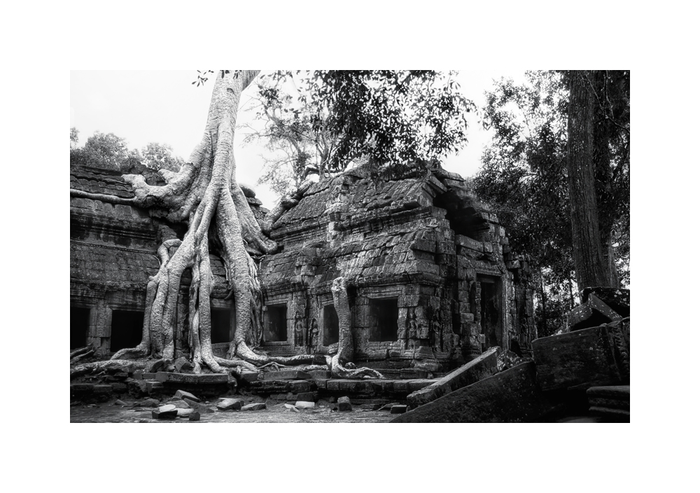 Fine art black and white image of Easternmost Gopura of Ta Prohm II, 1993, Siem Reap