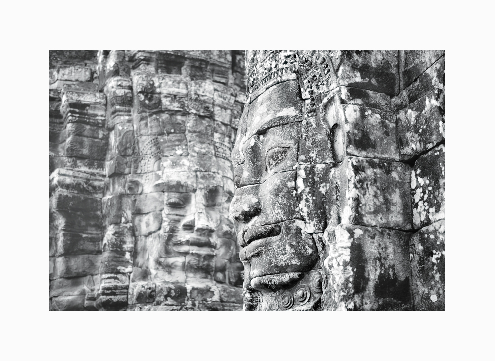 Fine art black and white image of Gazing, two faces of The Bayon, Siem Reap