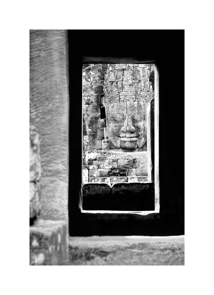 Fine art black and white image of Sublime Khmer Smile, The Bayon, 1993, Siem Reap
